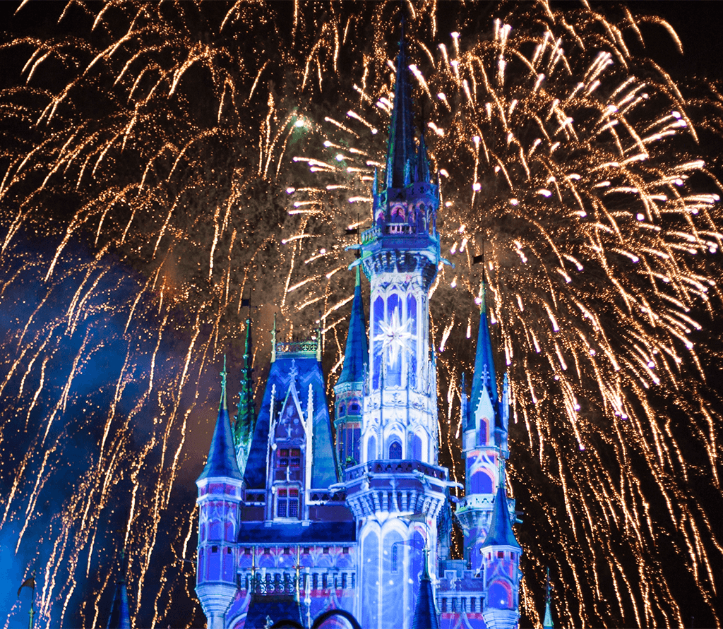 Castelo da Cinderela no Magic Kingdom e os fogos do Happily Ever After. Primeira viagem a Orlando.